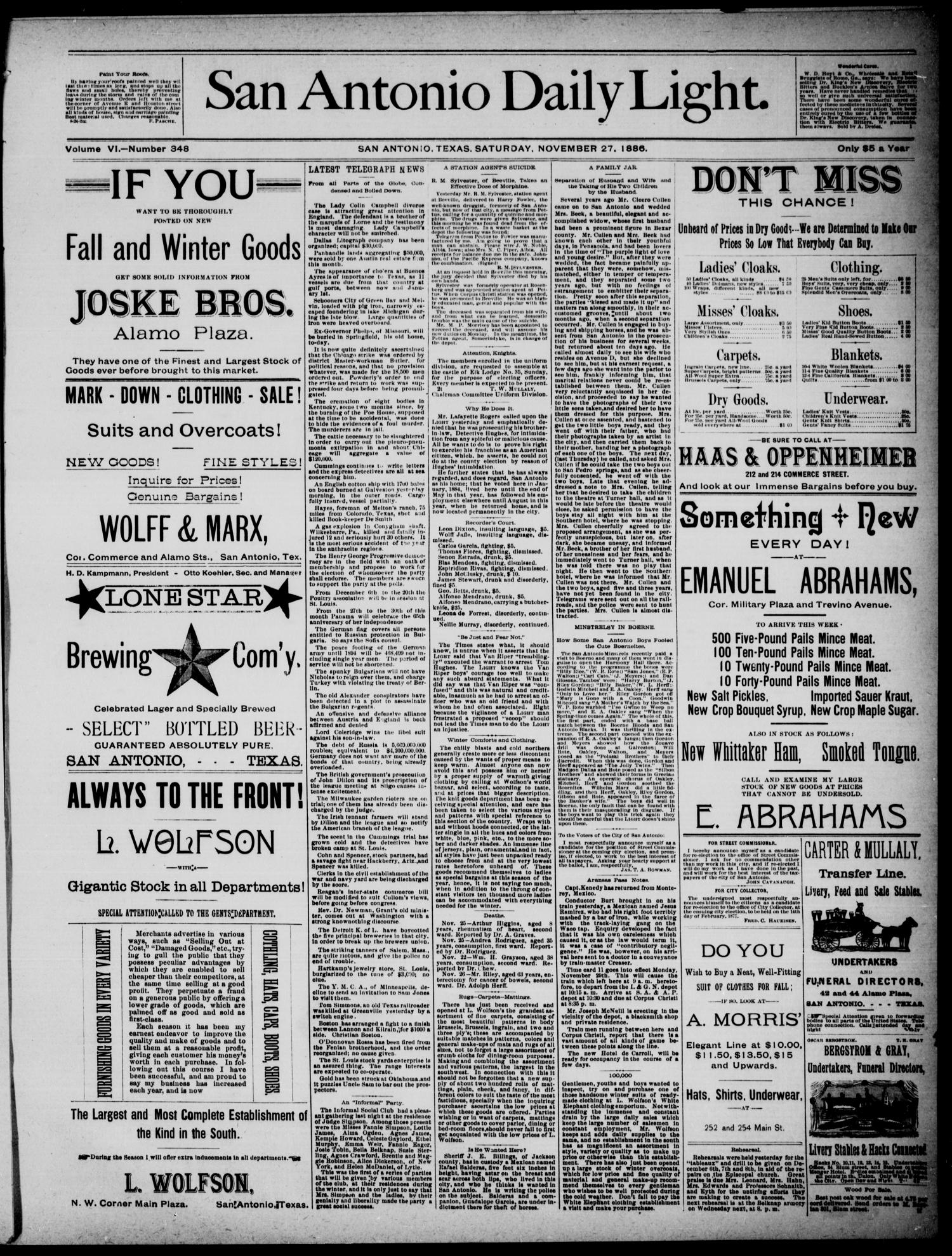 San Antonio Daily Light (San Antonio, Tex.), Vol. 6, No. 348, Ed. 1, Saturday, November 27, 1886                                                                                                      [Sequence #]: 1 of 4