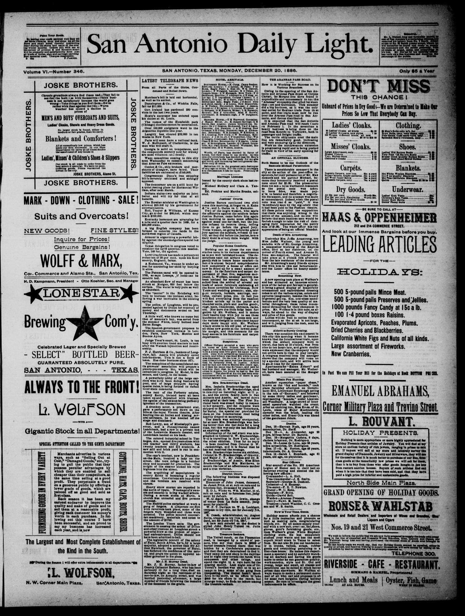 San Antonio Daily Light (San Antonio, Tex.), Vol. 6, No. 346, Ed. 1, Monday, December 20, 1886                                                                                                      [Sequence #]: 1 of 4