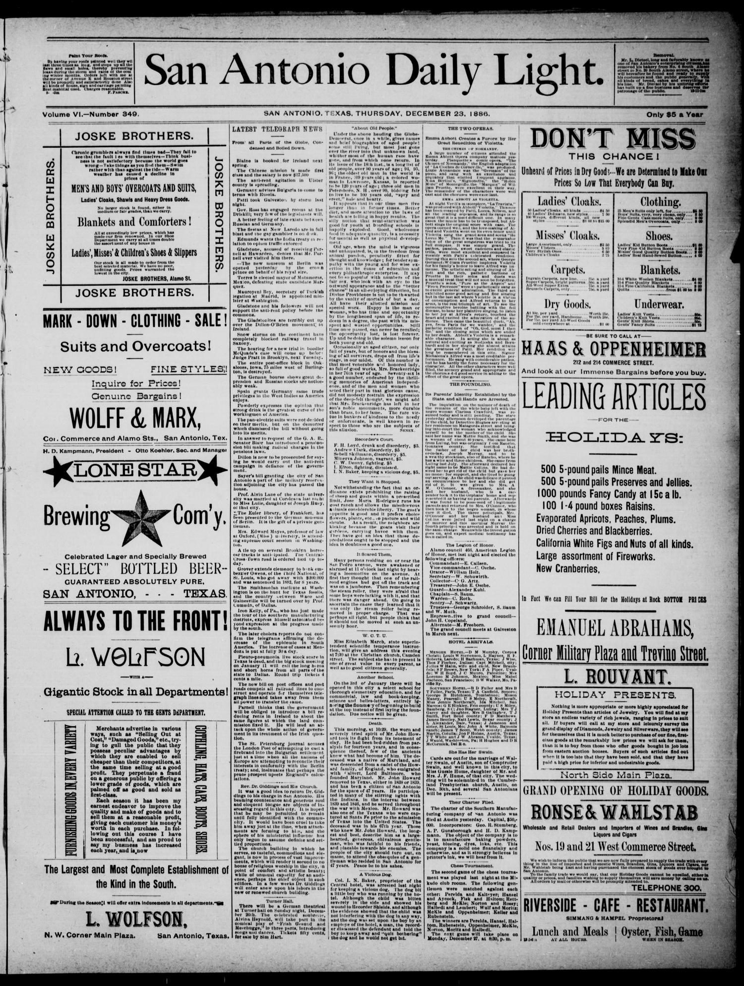San Antonio Daily Light (San Antonio, Tex.), Vol. 6, No. 349, Ed. 1, Thursday, December 23, 1886                                                                                                      [Sequence #]: 1 of 4