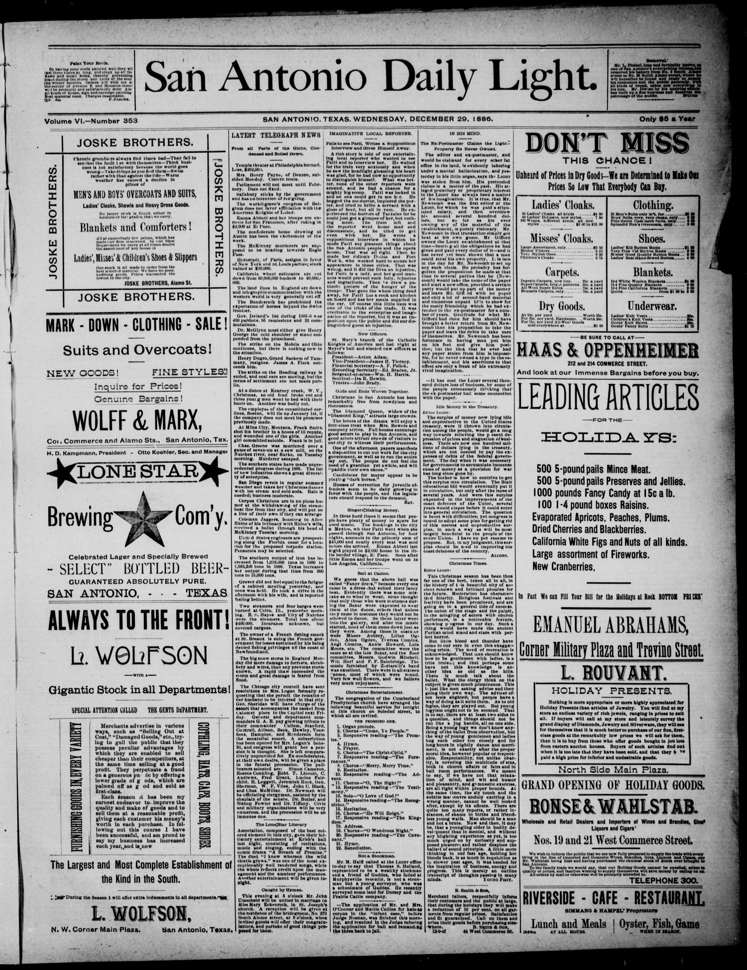 San Antonio Daily Light (San Antonio, Tex.), Vol. 6, No. 353, Ed. 1, Wednesday, December 29, 1886                                                                                                      [Sequence #]: 1 of 4