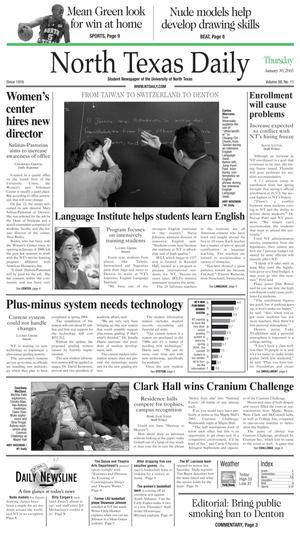 Primary view of object titled 'North Texas Daily (Denton, Tex.), Vol. 88, No. 11, Ed. 1 Thursday, January 30, 2003'.