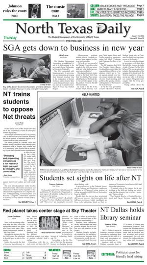 Primary view of object titled 'North Texas Daily (Denton, Tex.), Vol. 88, No. 58, Ed. 1 Thursday, January 15, 2004'.