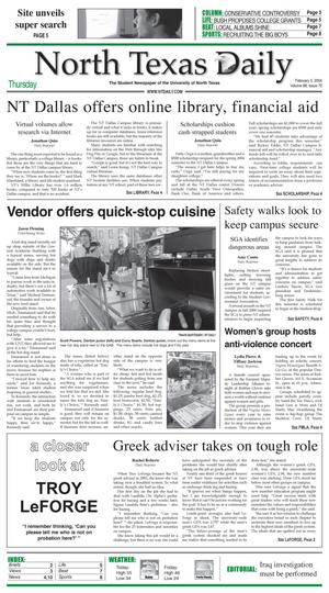 Primary view of object titled 'North Texas Daily (Denton, Tex.), Vol. 88, No. 70, Ed. 1 Thursday, February 5, 2004'.