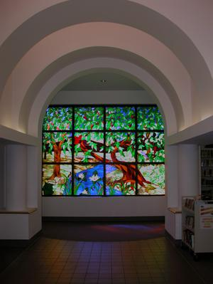 Primary view of object titled '[Stained Glass Window in Library]'.