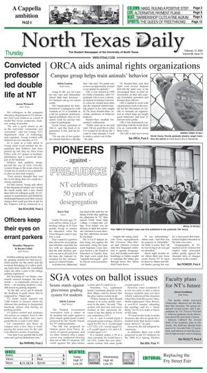 Primary view of object titled 'North Texas Daily (Denton, Tex.), Vol. 88, No. 74, Ed. 1 Thursday, February 12, 2004'.