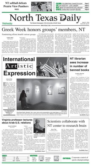Primary view of object titled 'North Texas Daily (Denton, Tex.), Vol. 88, No. 97, Ed. 1 Wednesday, March 31, 2004'.