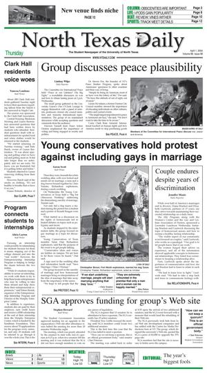 North Texas Daily (Denton, Tex.), Vol. 88, No. 98, Ed. 1 Thursday, April 1, 2004