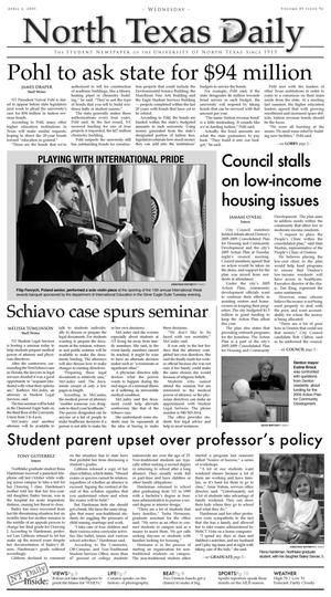 North Texas Daily (Denton, Tex.), Vol. 89, No. 96, Ed. 1 Wednesday, April 6, 2005
