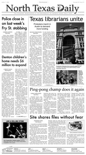 Primary view of object titled 'North Texas Daily (Denton, Tex.), Vol. 89, No. 97, Ed. 1 Thursday, April 7, 2005'.