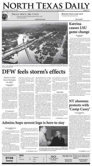 North Texas Daily (Denton, Tex.), Vol. 90, No. 2, Ed. 1 Wednesday, August 31, 2005