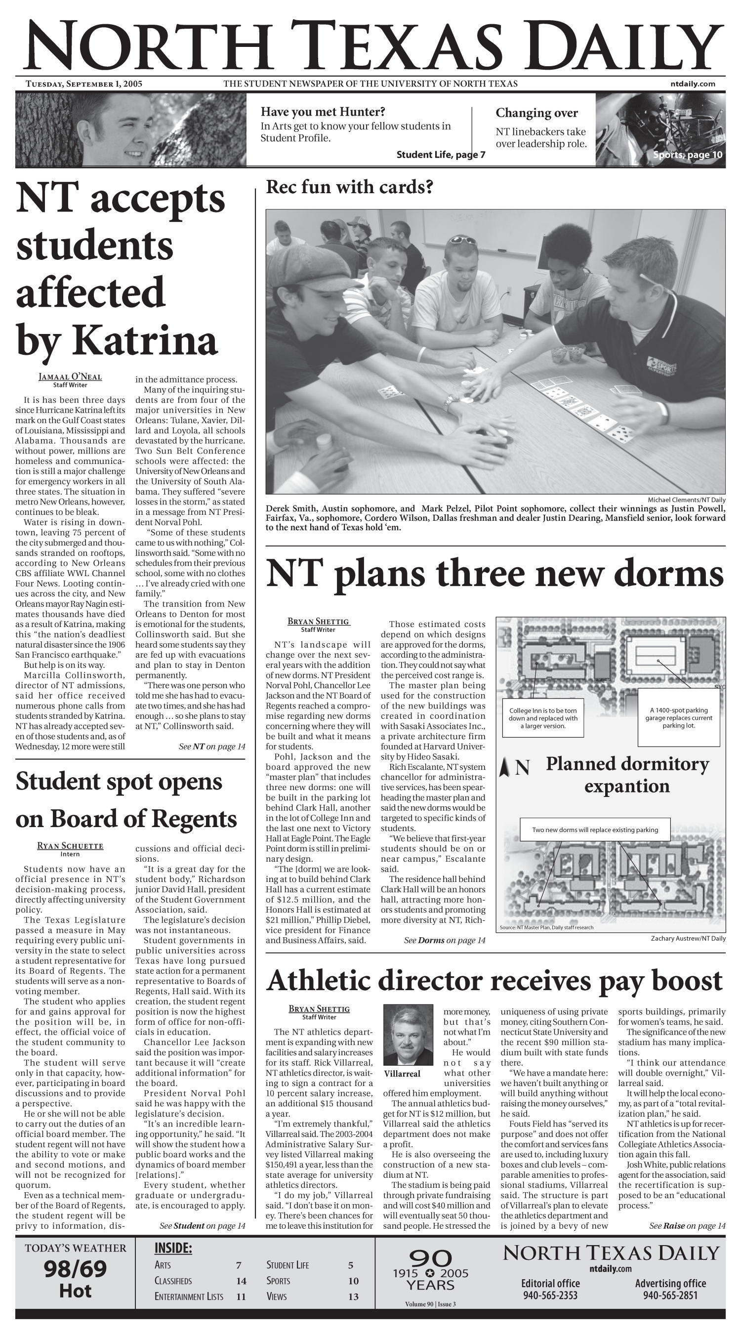 North Texas Daily (Denton, Tex.), Vol. 90, No. 3, Ed. 1 Thursday, September 1, 2005                                                                                                      [Sequence #]: 1 of 14