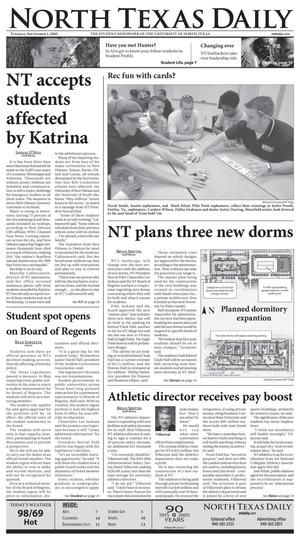 Primary view of object titled 'North Texas Daily (Denton, Tex.), Vol. 90, No. 3, Ed. 1 Thursday, September 1, 2005'.
