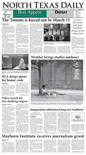 Primary view of object titled 'North Texas Daily (Denton, Tex.), Vol. 91, No. 75, Ed. 1 Thursday, February 22, 2007'.
