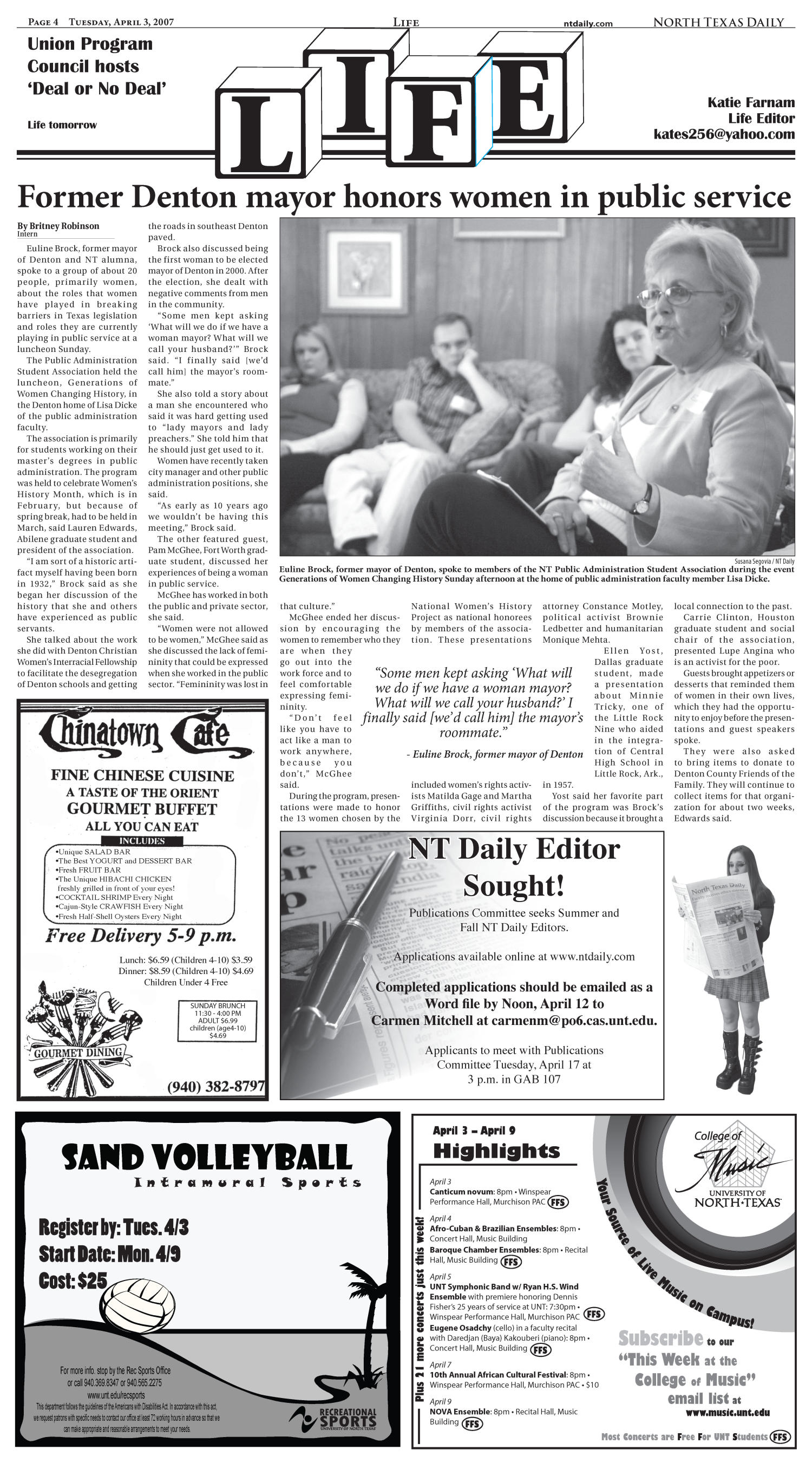 North Texas Daily (Denton, Tex.), Vol. 91, No. 93, Ed. 1 Tuesday, April 3, 2007                                                                                                      [Sequence #]: 4 of 8