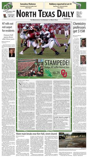 North Texas Daily (Denton, Tex.), Vol. 91, No. 3, Ed. 1 Tuesday, September 4, 2007