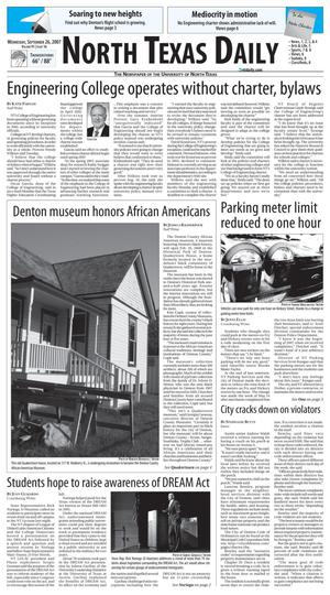 Primary view of object titled 'North Texas Daily (Denton, Tex.), Vol. 91, No. 16, Ed. 1 Wednesday, September 26, 2007'.