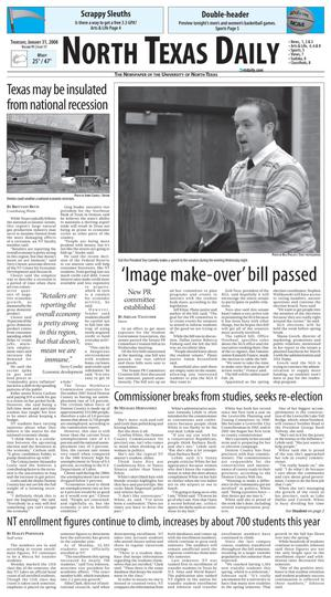 Primary view of object titled 'North Texas Daily (Denton, Tex.), Vol. 91, No. 11, Ed. 1 Thursday, January 31, 2008'.