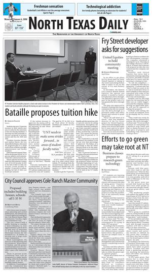 Primary view of object titled 'North Texas Daily (Denton, Tex.), Vol. 91, No. 14, Ed. 1 Wednesday, February 6, 2008'.
