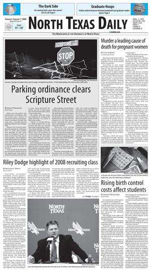 Primary view of object titled 'North Texas Daily (Denton, Tex.), Vol. 91, No. 15, Ed. 1 Thursday, February 7, 2008'.