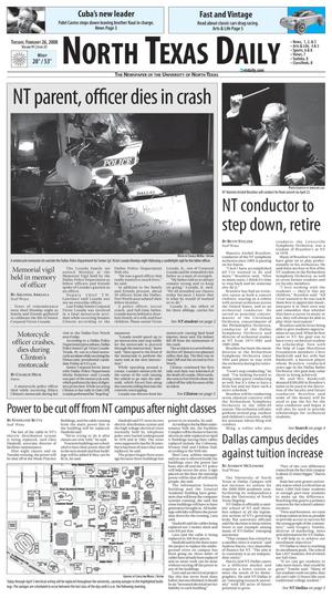 Primary view of object titled 'North Texas Daily (Denton, Tex.), Vol. 91, No. 25, Ed. 1 Tuesday, February 26, 2008'.