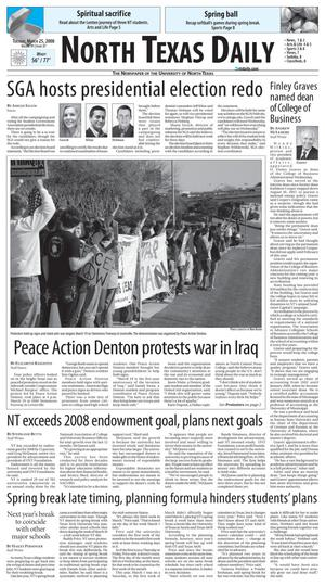 Primary view of object titled 'North Texas Daily (Denton, Tex.), Vol. 91, No. 37, Ed. 1 Tuesday, March 25, 2008'.