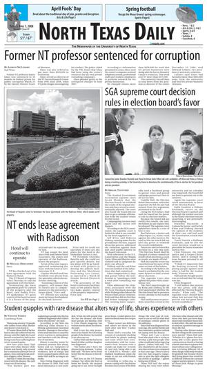 Primary view of object titled 'North Texas Daily (Denton, Tex.), Vol. 91, No. 41, Ed. 1 Tuesday, April 1, 2008'.