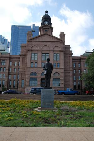 Primary view of object titled '[Statue in Front of Tarrant County Courthouse]'.