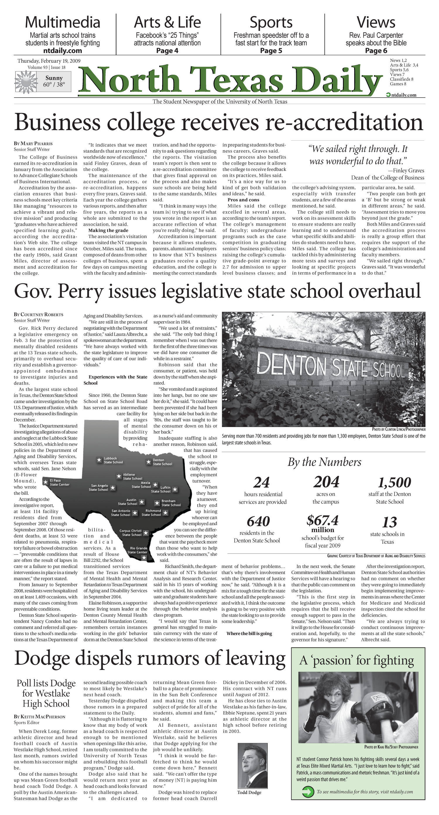 North Texas Daily (Denton, Tex.), Vol. 93, No. 18, Ed. 1 Thursday, February 19, 2009                                                                                                      [Sequence #]: 1 of 8