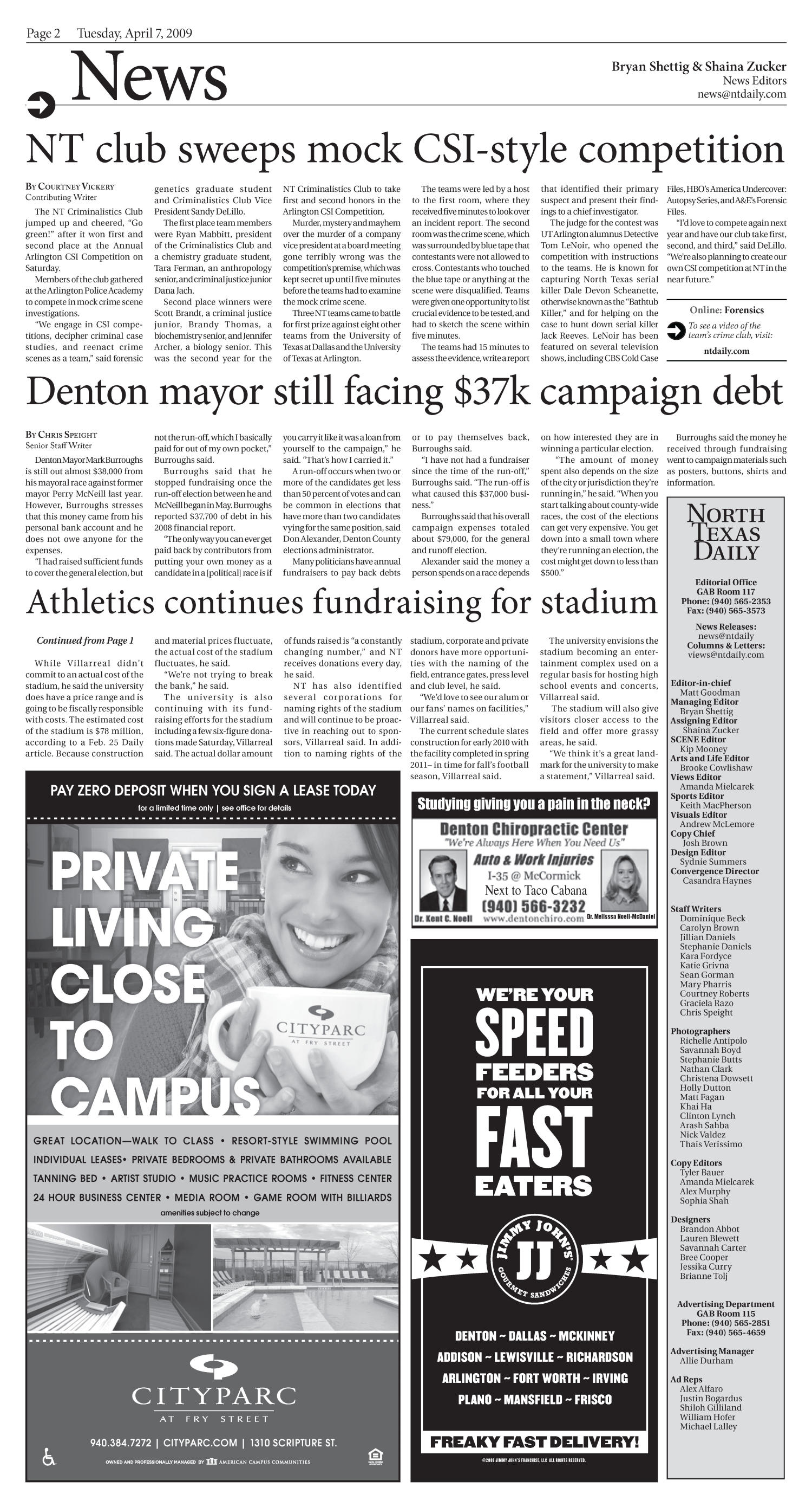 North Texas Daily (Denton, Tex.), Vol. 93, No. 40, Ed. 1 Tuesday, April 7, 2009                                                                                                      [Sequence #]: 2 of 8