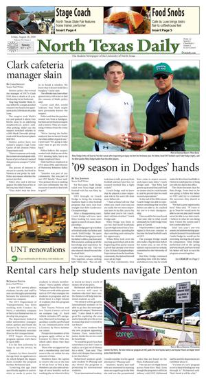 North Texas Daily (Denton, Tex.), Vol. 94, No. 2, Ed. 1 Friday, August 28, 2009
