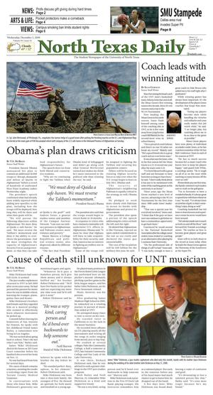 North Texas Daily (Denton, Tex.), Vol. 94, No. 54, Ed. 1 Wednesday, December 2, 2009