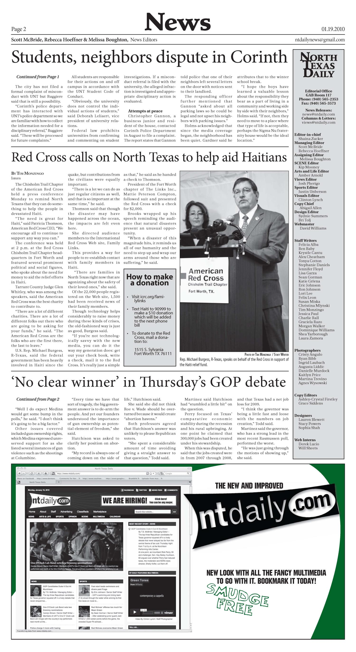 North Texas Daily (Denton, Tex.), Vol. 95, No. 1, Ed. 1 Tuesday, January 19, 2010                                                                                                      [Sequence #]: 2 of 8