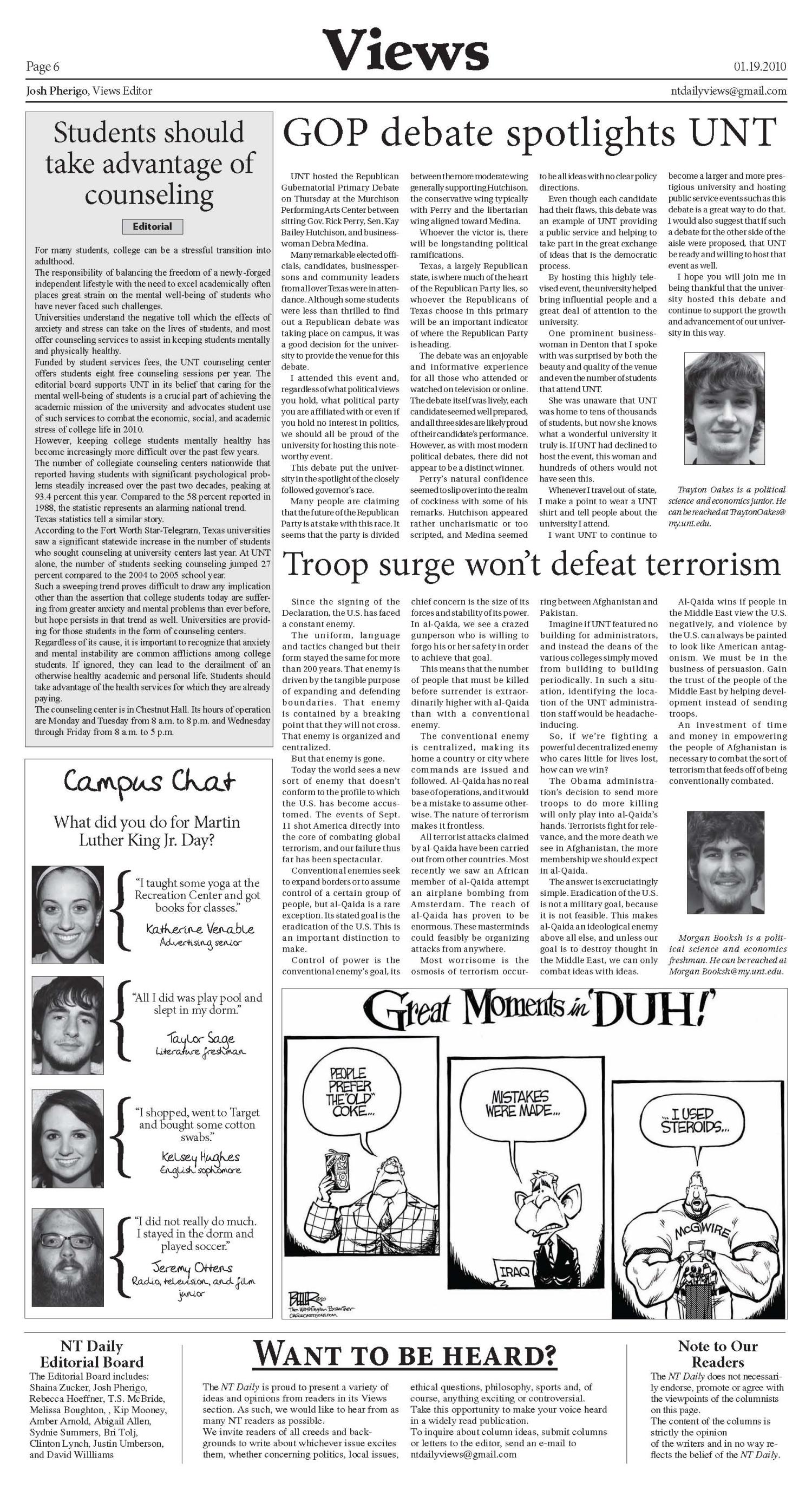 North Texas Daily (Denton, Tex.), Vol. 95, No. 1, Ed. 1 Tuesday, January 19, 2010                                                                                                      [Sequence #]: 6 of 8