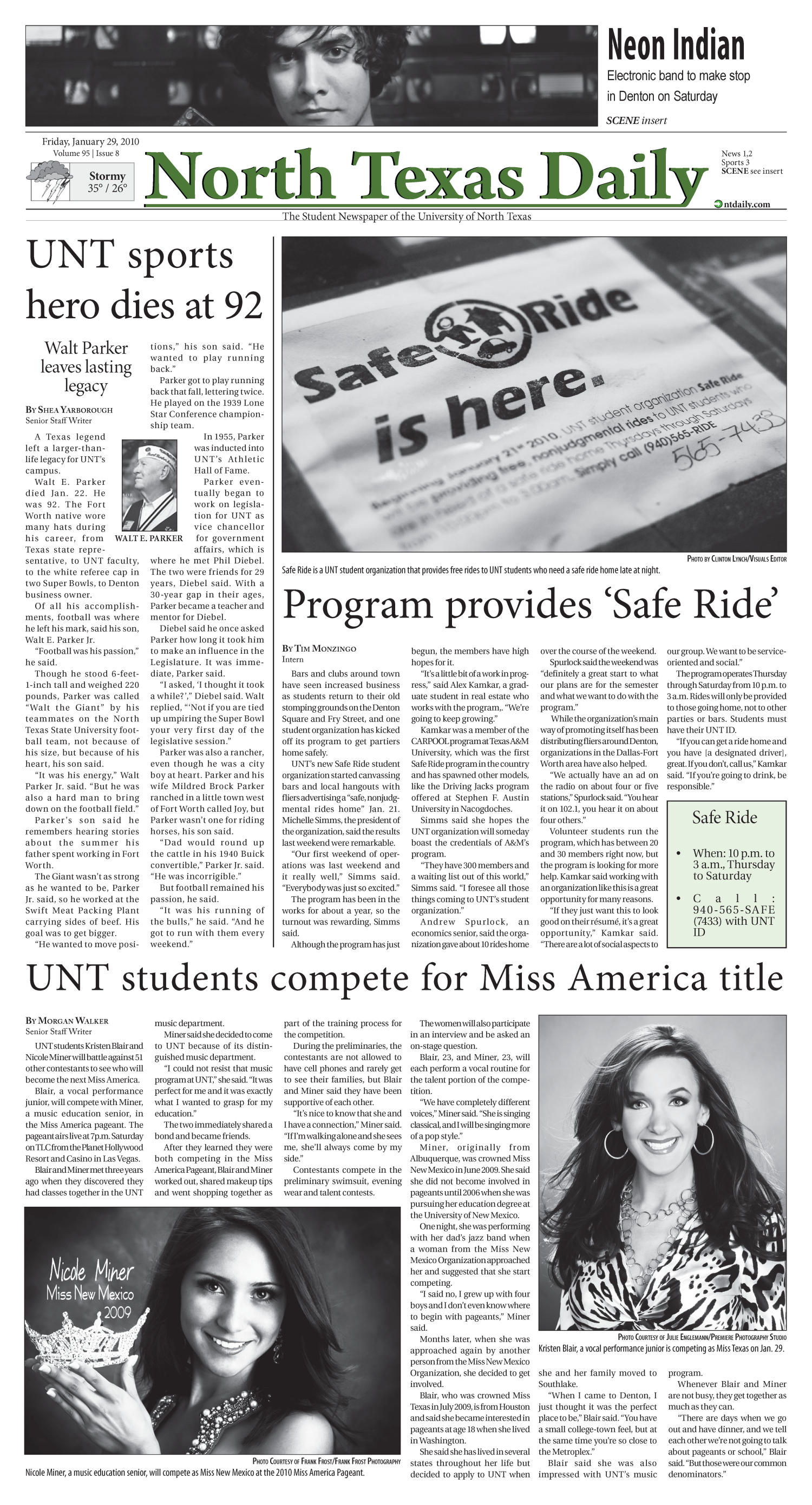 North Texas Daily (Denton, Tex.), Vol. 95, No. 8, Ed. 1 Friday, January 29, 2010                                                                                                      [Sequence #]: 1 of 12