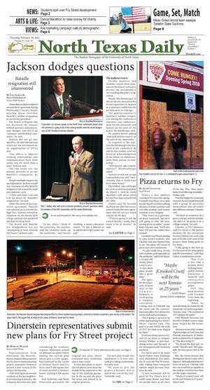 Primary view of object titled 'North Texas Daily (Denton, Tex.), Vol. 95, No. 19, Ed. 1 Thursday, February 18, 2010'.
