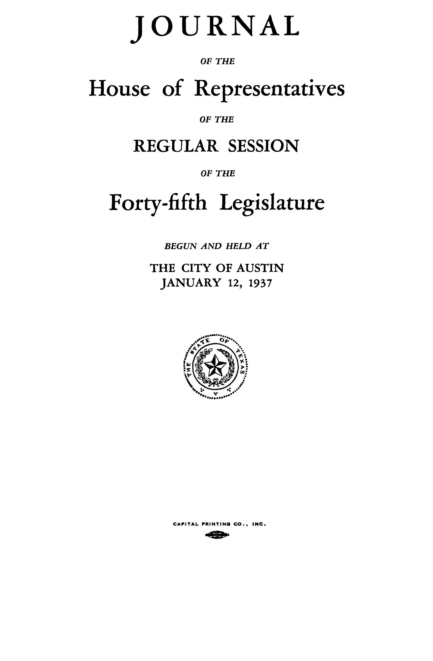 Journal of the House of Representatives of the Regular Session of the Forty-Fifth Legislature of the State of Texas, Volume 1                                                                                                      Title Page