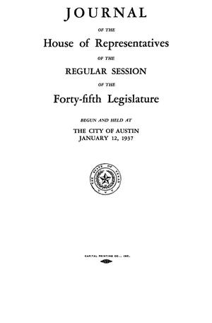 Primary view of object titled 'Journal of the House of Representatives of the Regular Session of the Forty-Fifth Legislature of the State of Texas, Volume 1'.