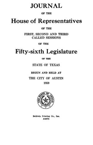 Primary view of object titled 'Journal of the House of Representatives of the First, Second, and Third Called Sessions of the Fifty-Sixth Legislature of the State of Texas'.