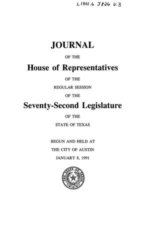 Primary view of object titled 'Journal of the House of Representatives of the Regular Session of the Seventy-Second Legislature of the State of Texas, Volume 3'.