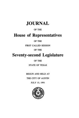 Primary view of object titled 'Journal of the House of Representatives of the First Called Session of the Seventy-Second Legislature of the State of Texas, Volume 5'.