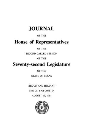 Primary view of object titled 'Journal of the House of Representatives of the Second Called Session of the Seventy-Second Legislature of the State of Texas, Volume 7'.