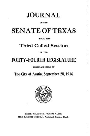 Primary view of object titled 'Journal of the Senate of Texas being the Third Called Session of the Forty-Fourth Legislature'.