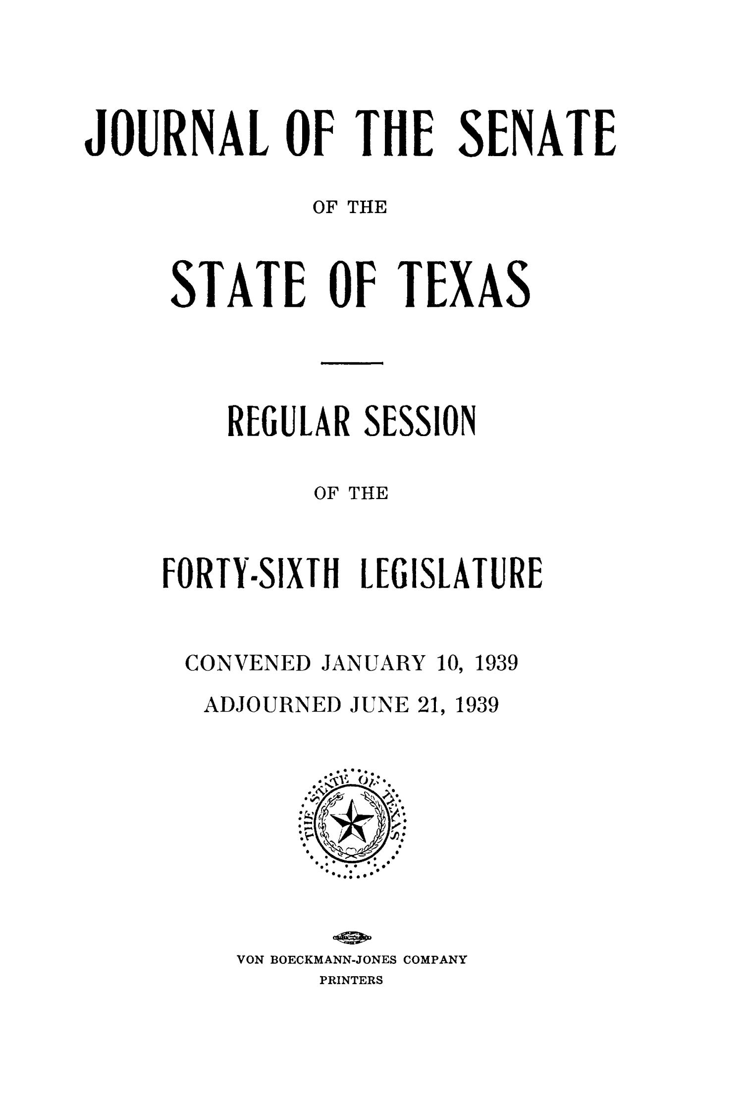 Journal of the Senate of the State of Texas, Regular Session of the Forty-Sixth Legislature                                                                                                      Title Page