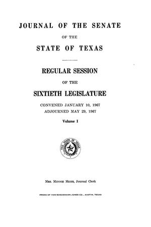 Primary view of object titled 'Journal of the Senate of the State of Texas, Regular Session of the Sixtieth Legislature, Volume 1'.