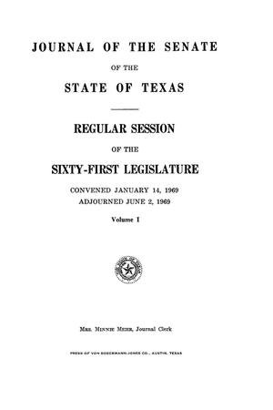 Primary view of object titled 'Journal of the Senate of the State of Texas, Regular Session of the Sixty-First Legislature, Volume 1'.