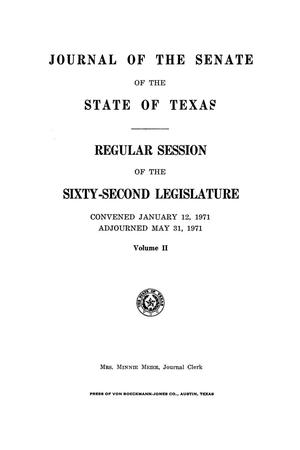 Primary view of object titled 'Journal of the Senate of the State of Texas, Regular Session of the Sixty-Second Legislature, Volume 2'.