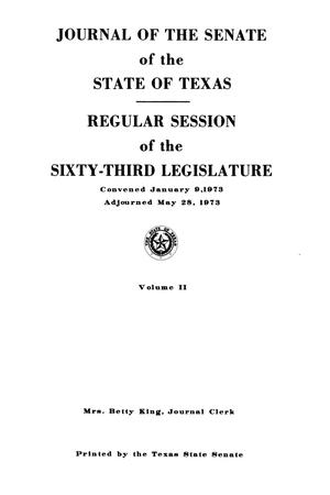 Journal of the Senate of the State of Texas, Regular Session, Volume 2, and Second Called Session of the Sixty-Third Legislature