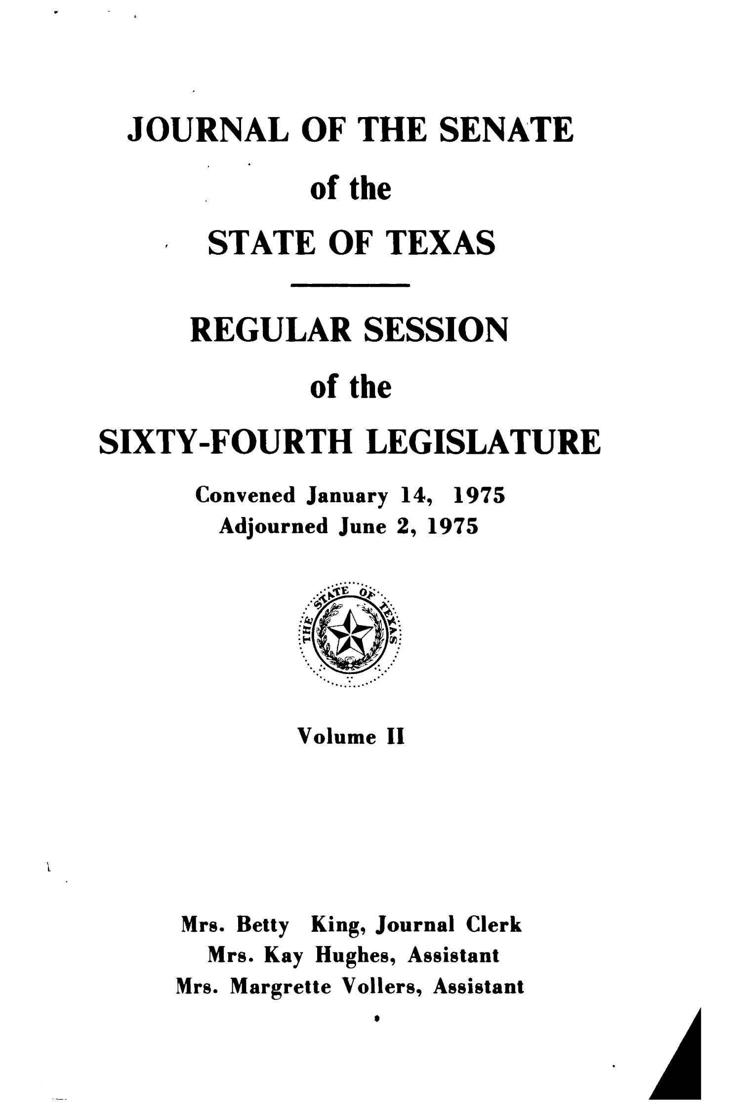 Journal of the Senate of the State of Texas, Regular Session of the Sixty-Fourth Legislature, Volume 2                                                                                                      Title Page