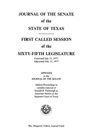 Journal of the Senate of the State of Texas, First and Second Called Sessions of the Sixty-Fifth Legislature