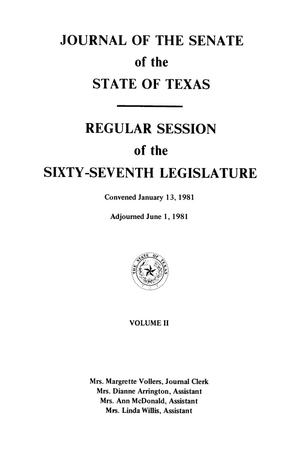 Primary view of object titled 'Journal of the Senate of the State of Texas, Regular Session of the Sixty-Seventh Legislature, Volume 2'.